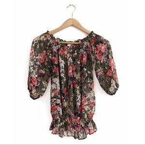 Dynamite Shear Floral Print Blouse M Black Pink